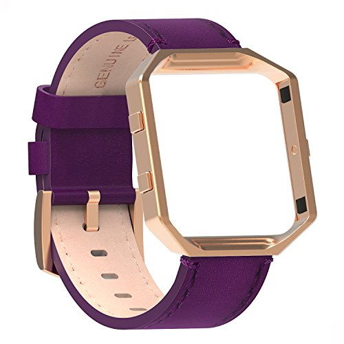 Austrake For Fitbit Blaze Bands Leather with Frame Small Large, Fitbit Blaze Band with Stainless Steel Buckle for Women Men