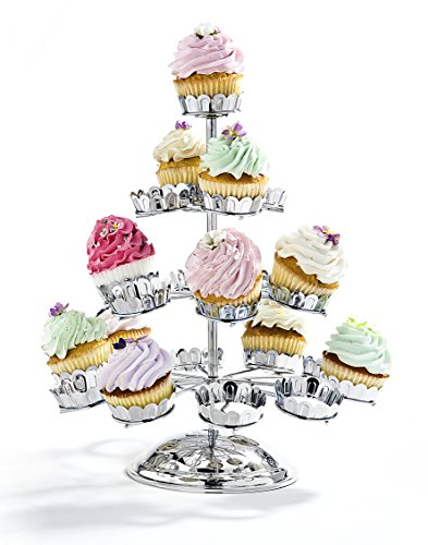 Godinger Chrome Plated 21 Cupcake Stand, Silver