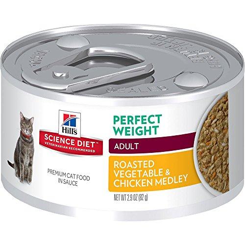 HillS Science Diet Adult Perfect Weight Wet Cat Food, Chicken & Vegetable Stew Canned Cat Food For Healthy Weight And Weight Management, 2.9 Oz, 24 Pack