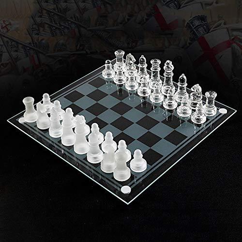 Icbly Conjunto de ajedrez de Cristal Tradicional con la Tarjeta de Cristal Transparente y Esmerilado y Cristal Claro de…