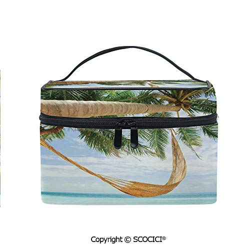 Printed Portable Travel Makeup Cosmetic Bag View of Nice Hammock with Palms by the Ocean Sandy Shore Exotic Artsy Print Decorative Durable storage bag for Women Girls