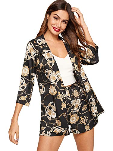 Milumia Women's Open Front 3/4 Sleeve Chain Print Jacket Shirt with Shorts