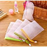 VNDEFUL 10 PCS Exfoliating Mesh Soap Pouch Bubble Foam Net Soap Sack Saver Pouch Drawstring Holder Bags (Color Random)