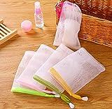 AKOAK 10 PCS Exfoliating Mesh Soap Pouch Bubble Foam Net Soap Sack Saver Pouch Drawstring Holder Bags (Color Random)