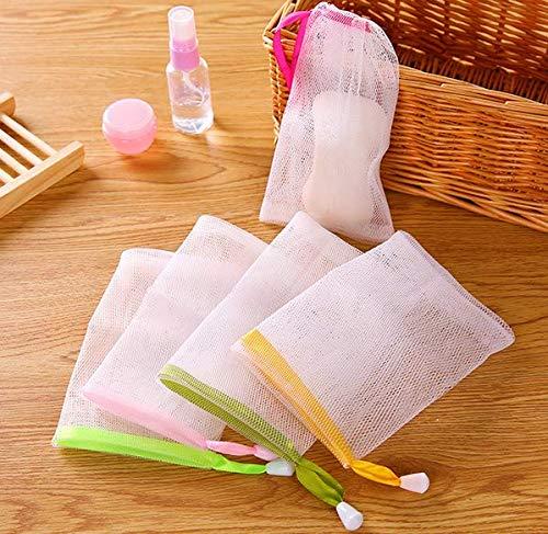 VNDEFUL 10 PCS Exfoliating Mesh Soap Pouch Bubble Foam Net Soap Sack Saver Pouch Drawstring Holder Bags (Color Random) ()