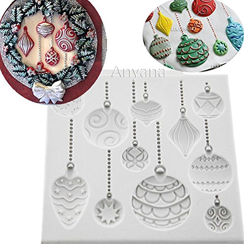 Anyana Christmas Ornament Baking Molds XMAS Silicone Fondant molds holiday Cake Decorating Tools Festival Gumpaste cupcake topper decorations hot air balloon resin Clay Chocolate Candy Molds Non -
