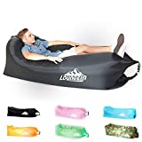 LoungeIN Inflatable Lounger - Multi Functional Portable Water Resistant Inflatable Lounge Chair (black)