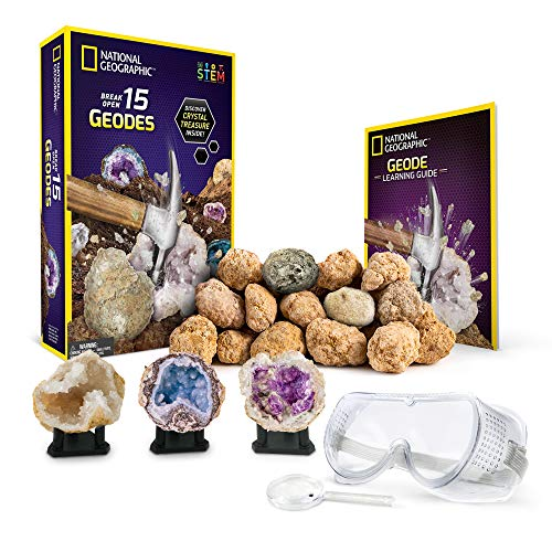NATIONAL GEOGRAPHIC - Break Open 15 Premium Geodes – Includes Goggles, Detailed Learning Guide & 3 Display Stands - Great Stem Science Gift for Mineralogy & Geology Enthusiasts of Any Age by NATIONAL GEOGRAPHIC (Image #8)