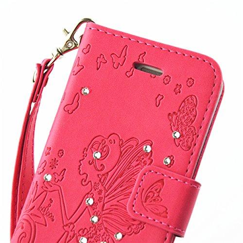 Cozy Hut Hülle für iphone 5C,Magnetverschluss Prägung Schmetterlings Blumen Fee Engel Mädchen Muster mit Lanyard Strap Design PU Leder und Bling Strass Kristall Glitter Tasche Weiche Silikon Schutzhül