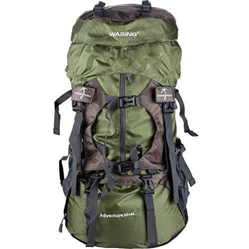 WASING 55L Internal Frame Backpack Hiking Backpacking Packs for Outdoor Hiking Travel Climbing Camping Mountaineering with Rain Cover - Internal Frame Pack Trek