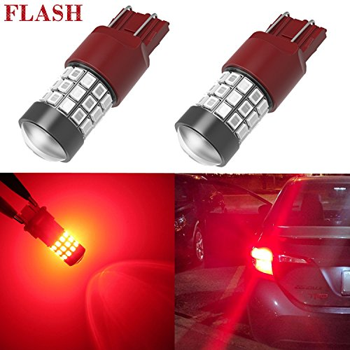 Alla Lighting 7440 7443 LED Strobe Brake Lights Bulbs Super Bright W21W T20 Wedge High Power 2835 SMD 12V Flashing Strobe Stop Lights Replacement for Cars, Trucks, Brilliant Pure Red (2006 Honda Lights Back Odyssey)