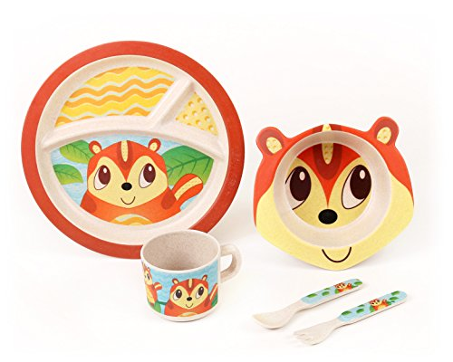 BAMBOO KIDS Meal Set | Plate Set | Toddler Dinner Set | Eco-Friendly Bamboo Dishes | Food-Safe Feeding Set for Toddlers and Little Kids | Boys and Girls | Chipmunk ()