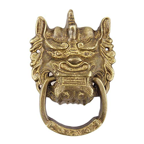 Antique Hardware Animal head Door knocker,Copper lion head,Brass door knocker,Small courtyard door,Handle,Vintage,Vintage Handle-Bronze 8x12cm(3x5inch) ()