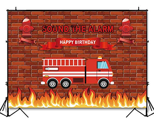 (Funnytree 7x5ft Red Firetruck Birthday Party Backdrop Sound The Alarm Baby Boy Photography Background Brick Wall Fire Emergency Rescue Firefighter Invitation Decorations Photo Banner Photobooth Props)