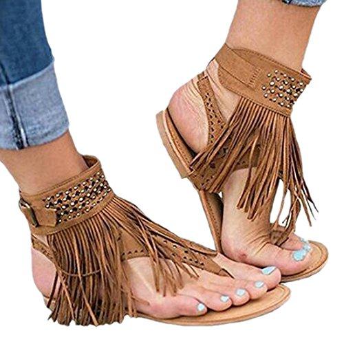 Flop Strap Shoe Women's Gladiator Flip Tassel Style Moichien Roman Flat Bohemia Brown Sandal Ai T TZPFwqT