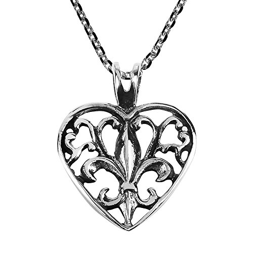 AeraVida Elegant Open Fleur-de-Lis in Heart .925 Sterling Silver Pendant Necklace ()