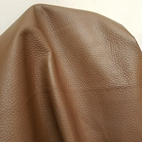 NAT Leathers Taupe Milk Chocolate Brown Soft Tumbled 2.0-2.5 oz 10 inch x 20 inch Cutting Upholstery Craft Shoe, Handbag Cowhide Genuine Cow Leather Hide Skin (10 inch x 20 inch)