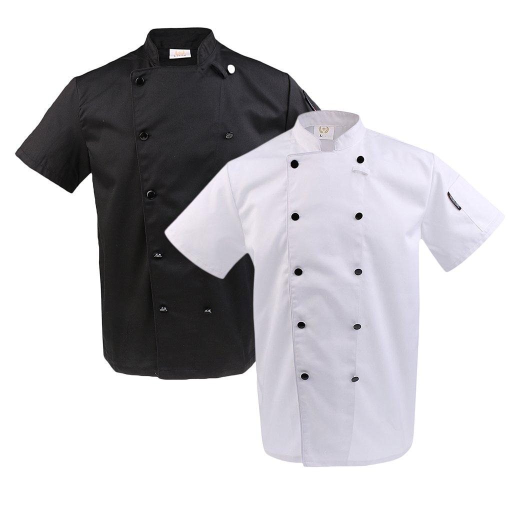 6db24de8edd Prettyia 2pcs Chaquetas Camisas de Hombre Chef Restaurante Cocina Mujer  Ropa Cómoda - Blanco negro, 2XL: Amazon.es: Ropa y accesorios
