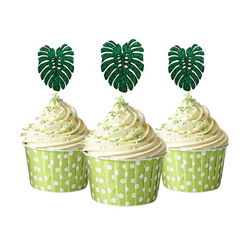 - Tropical leaf Cupcake Topper 12 pieces per Pack Cupcake Topper Decoration Card Stock Green