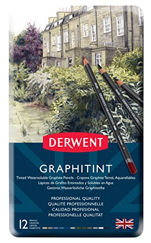Derwent Graphic - Derwent Graphitint Pencils, Metal Tin, 12 Count (0700802)