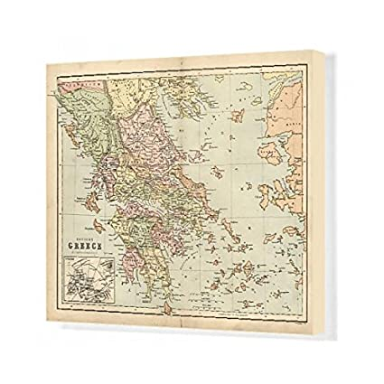 image relating to Printable Map of Ancient Greece identify : Media Storehouse 20x16 Canvas Print Antique map
