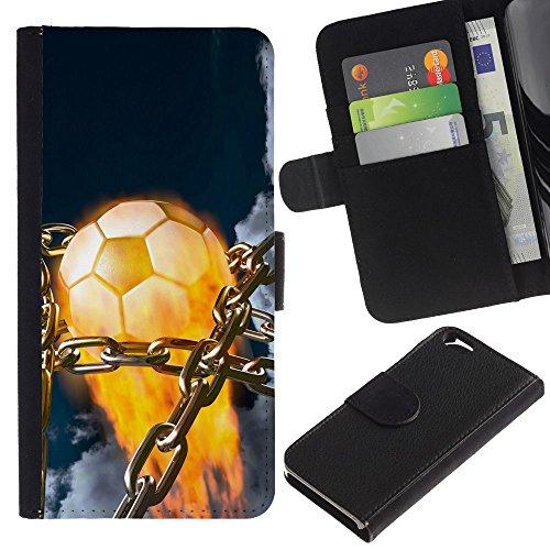 Funny Phone Case // Cuir Portefeuille Housse de protection Étui Leather Wallet Protective Case pour Apple Iphone 6 /Flaming Soccer Ball/