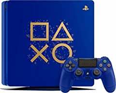 Celebrate a gaming icon with this days of play PlayStation 4 Console. The Slim blue unit features the Controller button symbols in Gold along its side, while the 1TB hard drive provides plenty of room for all your favorite titles. Complete wi...