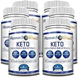 Research Verified Keto - Vegan Keto Supplement with 4 Exogenous Ketone Salts (Calcium, Sodium, Magnesium and Potassium) and MCT Oil to Boost Energy, Weight Loss and Focus in Ketosis - 6 Bottles