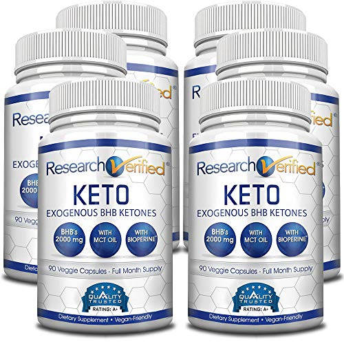 Research Verified Keto - Vegan Keto Supplement with 4 Exogenous Ketone Salts (Calcium, Sodium, Magnesium and Potassium) and MCT Oil to Boost Energy, Weight Loss and Focus in Ketosis - 3 Bottles by Research Verified (Image #4)