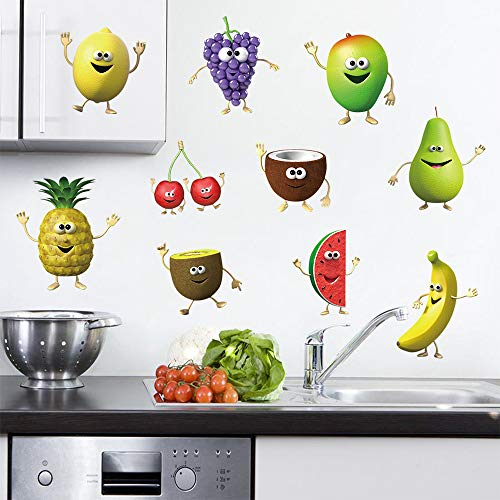 decalmile Kitchen Fruit Wall Decals Banana Lemon Mango Emoji Wall Stickers Kids Room Dining Room Kitchen Wall Art Decor ()