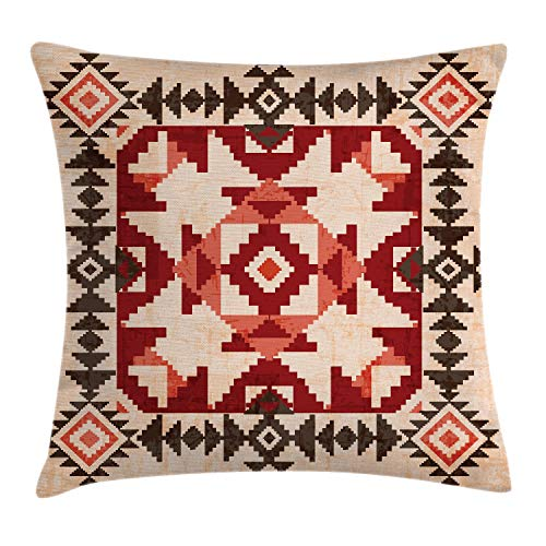 """Ambesonne Tribal Throw Pillow Cushion Cover, Original National Heritage Maya Pyramids Local Region Esoteric Myth Motive, Decorative Square Accent Pillow Case, 20"""" X 20"""", Maroon"""
