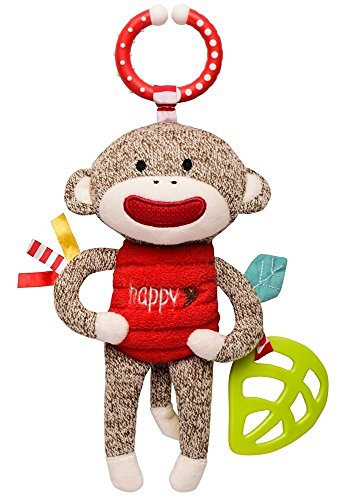 (Baby Starters Sock Monkey Crinkle, Rattle, Squeak Plush with Hook, Brown/Red,)