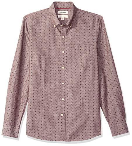 Goodthreads Men's Slim-Fit Long-Sleeve Polka Dot Homespun Chambray Shirt, Burgundy Navy, X-Large