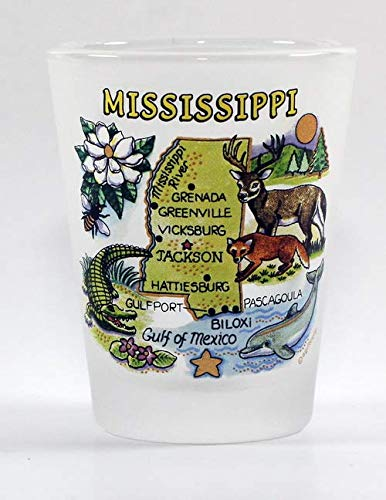 Mississippi Map Frosted Shot Glass