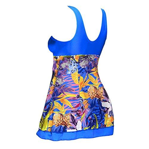 Donna Sexy Pantaloncini Donna Plus Stampa 5XL Junkai Costume Pezzi Bagno Intero Blu Due Tankini Moda Size Da Elegante S Costumi gqv56SwF