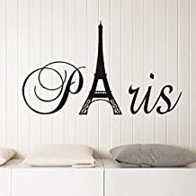 English Letters Paris Eiffel Tower Wall Decal Home Sticker PVC Murals Vinyl Paper House Decoration Wallpaper Living Room Bedroom Kitchen Art Picture DIY for Children Teen Senior Adult Nursery Baby