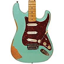 Sawtooth Handcrafted Americana ES Relic Electric Guitar with Hard Case, Surf Green with Tortoise Pickguard