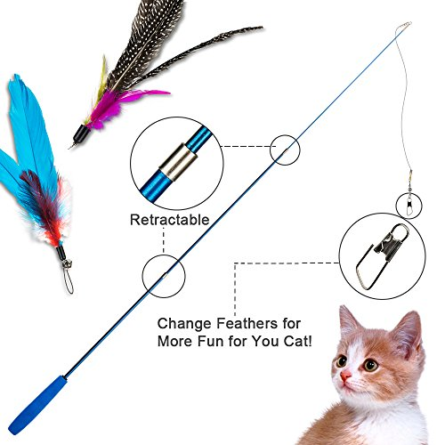 Depets Feather Teaser Cat Toy, Retractable Cat Feather Toy Wand with 5 Assorted Teaser with Bell Refills, Interactive Catcher Teaser for Kitten Or Cat Having Fun Exerciser Playing 4