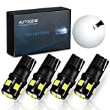 AUTOGINE 194 LED Bulbs 6000K Xenon White 300LM Super Bright 9-SMD 2835 Chipsets T10 168 175 2825 W5W LED Replacement Light Bulbs for Car Interior Dome Map Door License Plate Lights (Pack of 4)