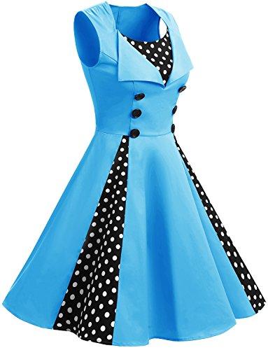 Retro Corto Up Cóctel Vintage Escote En Vestidos Mangas Dot Blue con Pin Gardenwed Pico Fiesta Cortas Uwavqv