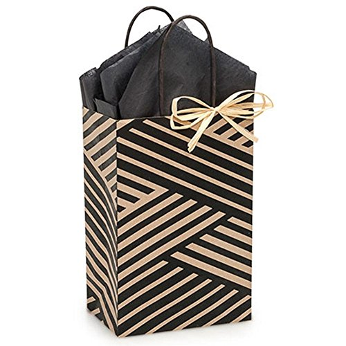 Kinetic Ink Kraft and Black Paper Shopping Bags - Rose Size - 5 1/2 x 3 1/4 x 8 3/8in. - 150 Pack by NW