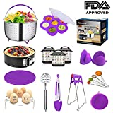 Pressure Cooker Accessories fits Instapot 6,8 Qt - Steamer Basket for Instant Pot Accessories, Springform Pan, Egg Steamer Rack, Silicon Egg Bites Mold, Magnetic Cheat Sheets - 12 Packs (Purple)