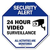 """Video Surveillance Sign - CCTV Warning Security Alert Sign - 24 Hour Surveilance All Activities are Monitored Sign - Legend"""" Large 12 X 12 Octagon Rust Free 0.40 Aluminum Sign"""