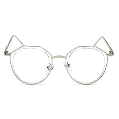 aweijia Occhiali da vista rotondi unisex con montatura rotonda in metallo con filtro anti-radiazioni a luce blu h15PPxo