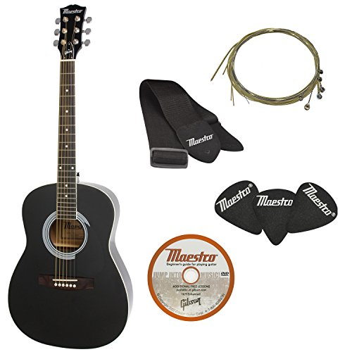 Maestro by Gibson Parlor Size Acoustic Guitar Starter Pack, Black