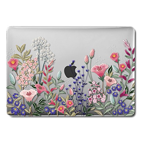 GMYLE MacBook Pro 13 Inch Case 2018 with Touch Bar, Soft-Touch Smooth Snap On Plastic Hard Clear Cover for Apple Mac Pro 13 A1989 A1706 A1708 2016 2017 Release - Pink Plum Blossom Floral Garden