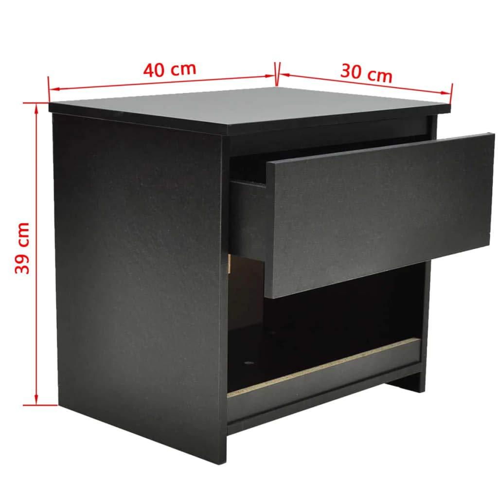 Colore: Nero 40 x 30 x 39 cm con 1 cassetto L x P x A Set di 2 comodini per Camera da Letto Zora Walter