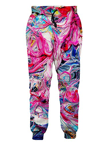 BFUSTYLE Unisex 3D Digital Print Graphic Gym Sport Jogging Pants Casual Sweatpants, XX-Large, Colorful Silk