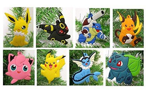(Pokemon 8 Piece Christmas Tree Ornament Set - Unique Shatterproof Plastic Design Around 2.5