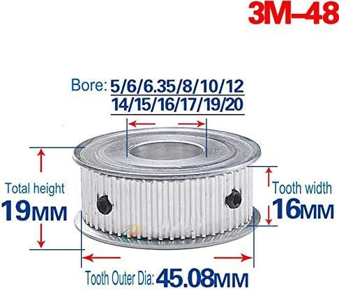 3M18T Synchronous Wheel Timing Belt Pulley Gear Bore 5-10mm For 10mm Width Belt